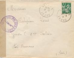 """CENSURE """"CENTRE DE SEJOUR SURVEILLÉ DE FORT-BARRAUX ISERE """" Lettre IRIS 1f  INTERNÉ CIVIL AU FORT - VELLES INDRE 31/3/4 - 2. Weltkrieg 1939-1945"""