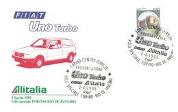 ITALIA - 1985 TORINO Auto Presentazione Fiat UNO TURBO Alitalia Su Busta Speciale Volo Torino-Rio De Janeiro - 3866 - Sellos