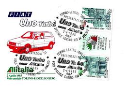 ITALIA - 1985 TORINO Auto Presentazione Fiat UNO TURBO Alitalia Su Busta Speciale Volo Torino-Rio De Janeiro - 3867 - Cars