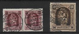 Sarre, N° 101 En Paire & 102 Oblitérés, Cote YT 47€ - 1920-35 Saargebiet – Abstimmungsgebiet
