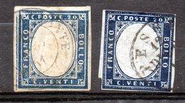 "Sardaigne Royaume ""Italie"" 20 C Bleu Et Bleu Foncé Oblitéré - Sardinia"