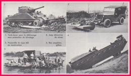 Génie Militaire. Matériels. Tank-dozer, Jeep Détectrice De Mines, Passerelle Type M2, Bac Amphibie. Larousse 1960. - Documents Historiques