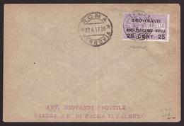 Regno, Busta Idrovolante Napoli-Palermo Del 1917 (Bolaffi) -CS86 - Marcophilie (Avions)