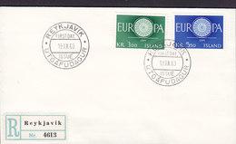 Iceland Registered Label REYKJAVIK Blanco FDC Cover 1960 Europa CEPT Complete Set !! - FDC