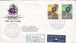 Iceland PAR AVION & Registered Labels REYKJAVIK FDC Cover 1967 Europa CEPT VIRUM Denmark Complete Set !! - FDC