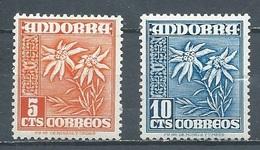 Andorre Espagnol YT N°43B-43C Edelweiss Neuf ** - Unused Stamps