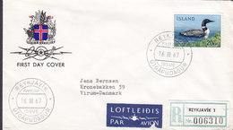 Iceland PAR AVION & Registered REYKJAVIK Labels FDC Cover 1967 VIRUM Denmark 20 Kr Eistaucher Bird Vogel Oiseau - FDC