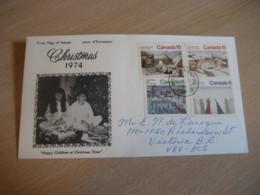 WINNIPEG 1974 Yvert 550/3 Christmas Noel Ice Horse Sleigh Sledge FDC Cancel Cover CANADA - 1971-1980