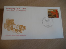 WINNIPEG 1974 Yvert 533 Stagecoach Stage Coach Stage-coach FDC Cancel Cover CANADA - 1971-1980