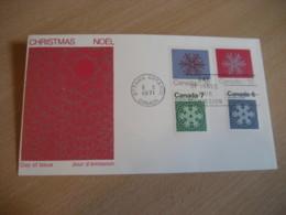 OTTAWA 1971 Yvert 465/8 Christmas Noel Snowflake Weather Meteorology Meteorologie FDC Cancel Cover CANADA - 1971-1980