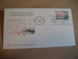 OTTAWA 1967 Yvert 396 Toronto Centennial 100 Years Centenary FDC Cancel Cover CANADA - 1961-1970