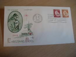 OTTAWA 1966 Yvert 375/6 Christmas Noel Hand Hands Virgin Vierge FDC Cancel Cover CANADA - 1961-1970