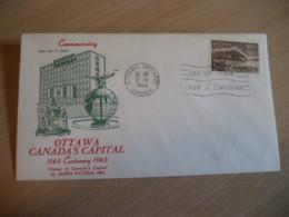 OTTAWA 1965 Yvert 365 Centennial Centenary Capital FDC Cancel Cover CANADA - 1961-1970