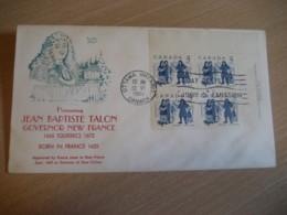 OTTAWA 1962 Yvert 325 Jean Talon Intendant New France Nouvelle Block Of 4 FDC Cancel Cover CANADA - 1961-1970