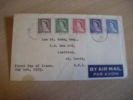HAMILTON 1953 Yvert 260/4 QEII Royal Family Royalty Air Mail FDC Cancel Cover CANADA - Omslagen Van De Eerste Dagen (FDC)