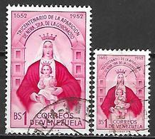 VENEZUELA.    1952     Y&T N° 420 à 421 Oblitérés.   Vierge à L' Enfant - Venezuela