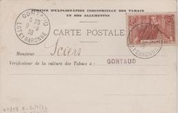 CARTE SERVICE D'EXPLOITATION INDUSTRIELLE DES TABACS ET DES ALLUMETTES 40C JEAN JAURES OBLITERATION GONTAUD 1936 - Advertising