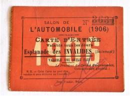 Salon De L'automobile 1906, Ticket D'entrée - Tickets - Vouchers
