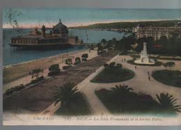 CPA 06 NICE Jetée Promenade Et Jardin Public - N° 107 Imp. Le Deley, Voyagée, écriture Plume, Timbrée, 1921, Dos Divisé - Cartas Panorámicas