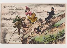 Carte Fantaisie Humoristique  Signée Henriot  / Santé Parfaite, Temps Splendide !/  à La Montagne , Escalade Périlleuse - Henriot