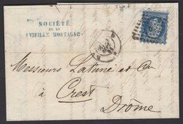 PARIS : Pli Affranchi Avec 20c Type I Empire Non Dentelé « Piquage Susse » Bleu Oblt Los D Baton PL + CàD 1521 C > CREST - 1849-1876: Période Classique