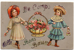 Cpa Gard - De Comps Mille Bons Baisers ( Fillettes Au Panier De Fleurs, Gaufrée, Ajoutis Paillettes ) - Andere Gemeenten