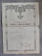 CITATION A L'ORDRE DU 412e REGIMENT D'INFANTERIE 11 JUIN 1918 - BATAILLE DU MATZ OISE - GUERRE 1914 1918 - 1914-18