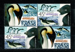 Ref 1365 - 2000 Australia Antarctic Territory - SG 130/131 Penguins - Block Of 4 MNH Stamps Cat £16+ - Unused Stamps