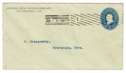 Ref 1365 - 1897 1c Postal Stationery Cover San Francisco USA To Soerabaya Dutch East Indies - Super Postmark - 1847-99 General Issues