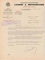 Facture 1938 / CANSON & MONTGOLFIER / Manufacture Papier / Usines Pupil, Vidalon / 07 Vidalon Les Annonay / Ardèche - 1900 – 1949