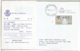 ESPAÑA CC ATM XACOBEO MAT RODILLO PALACIO COMUNICACIONES CON RECIBO - 1991-00 Brieven