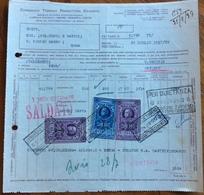 CONSORZIO TIRRENO PRODUTTORI CEMENTO - FATTURA 26/7/37 CON BELLE MARCHE DA BOLLO - Historical Documents