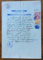MUNICIPIO DI MASSA 15/10/1927 - DOCUMENTOIN CARTA BOLLATA CON MARCHE DA BOLLO E MARCHE COMUNALI - Historical Documents