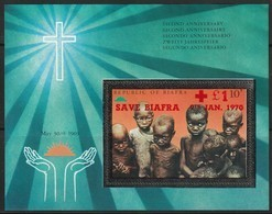 "NIGERIA - BIAFRA - BLOC N° 4 ** (1970) 2e Anniversaire De L'indépendance Surcharge ""save Biafra 9th Jan.1970"" - Nigeria (1961-...)"