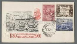 C6647 Italia FDC 1960 CENTENARIO DELLA SPEDIZIONE DEI MILLE 3 VALORI CAPITOLIUM - F.D.C.