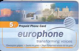 GREECE - Monuments, EuroPhone Global Prepaid Card 5 Euro, Sample - Greece