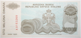 Croatie - 100000000 Dinara - 1993 - PICK R25a - NEUF - Croacia