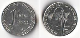 Pièce 1 Franc CFA 2001 Afrique De L'Ouest Origine Cote D'Ivoire - Côte-d'Ivoire