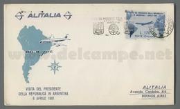 C6681 Italia FDC 1961 VISITA DEL PRESIDENTE GRONCHI IN ARGENTINA Lire 170 ALITALIA VG - F.D.C.