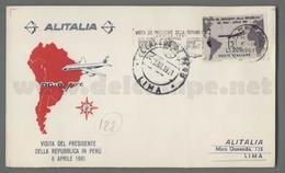 C6682 Italia FDC 1961 VISITA DEL PRESIDENTE GRONCHI IN ARGENTINA Lire 205 ALITALIA - F.D.C.