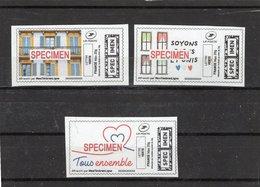 France,3 Timbres-spécimen Sur Le Confinement,neufs,sans Gomme,suite Coronavirus,covid 19 ,émis Par La Poste Française - Commemorative Labels