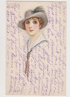Carte Fantaisie Dessinée Signée Mauzan / Portrait D'une Jeune Femme Au Chapeau - Mauzan, L.A.