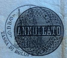 CARTA BOLLATA REGNO D'ITALIA 1873 :ANNULLATA ED USATA COME STAMPATO DALLA AMM.NE DEMANIO E TASSE DI BIELLA : 7/9/1887 - Historical Documents