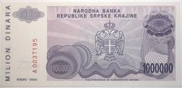 Croatie - 1000000 Dinara - 1994 - PICK R33a - NEUF - Croacia