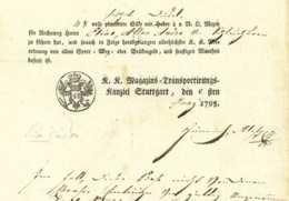 K.K.ARMEE Stuttgart 1795 Koalitionskrieg Ladeschein U. Freipass Österreichische Armee Württemberg - Documentos Históricos