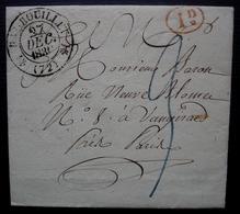 Rambouillet 1830, Lettre Pour Vaugirard, Cachet Décime Rural Rouge, Marque à Identifier à L'arrière - 1801-1848: Precursori XIX