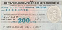 MINIASSEGNO BANCA S.PAOLO BRESCIA ASS COMM BRESCIA L.200 CIRCOLATO (YM753 - [10] Assegni E Miniassegni