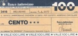 MINIASSEGNO BANCO AMBROSIANO LA CENTRALE FINANZIARIA L.100 CIRCOLATO (YM725 - [10] Chèques