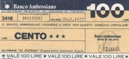 MINIASSEGNO BANCO AMBROSIANO LA CENTRALE FINANZIARIA L.100 CIRCOLATO (YM726 - [10] Chèques