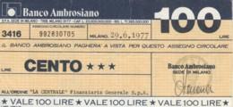 MINIASSEGNO BANCO AMBROSIANO LA CENTRALE FINANZIARIA L.100 CIRCOLATO (YM727 - [10] Chèques